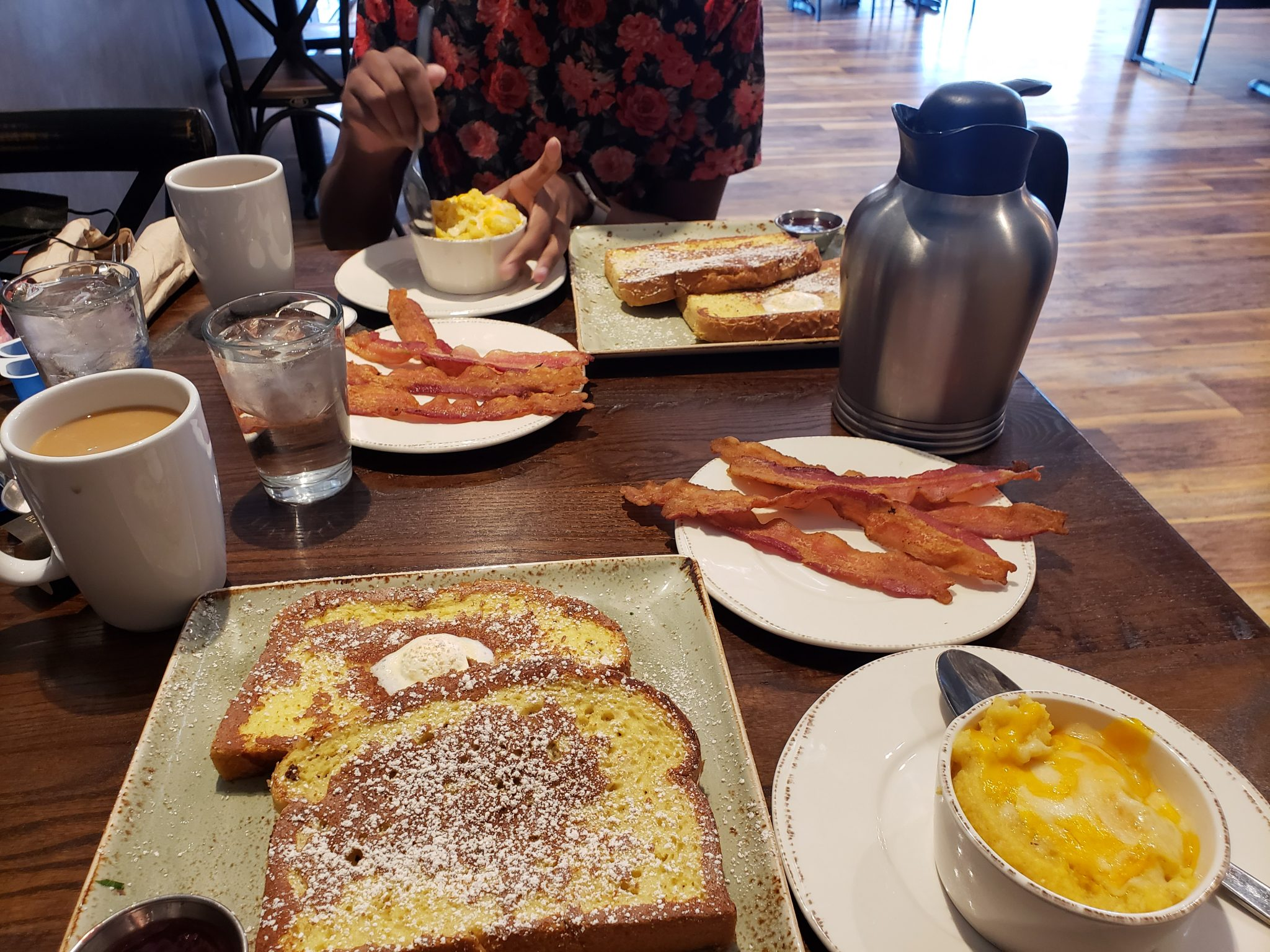 French Toast, Bacon, and Cheese Grits at First Watch, Dallas, Texas